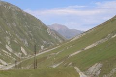 High voltage transmitters in the mountains stock image