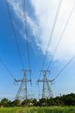 High voltage under the blue sky Stock Photography