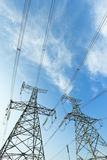 High voltage under the blue sky Royalty Free Stock Photo