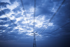 High voltage under the blue sky Royalty Free Stock Image