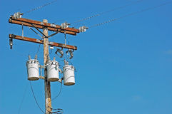 A High Voltage Utility Pole. Providing Electrical Power to the Community Royalty Free Stock Photos
