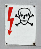 High voltage warning death skull sign Royalty Free Stock Image