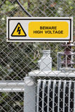 High voltage warning sign Stock Photography