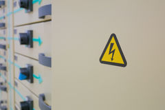 High voltage warning sign Stock Photo
