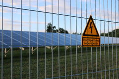High Voltage. Warning High Voltage Solar panels Royalty Free Stock Photography