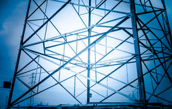 The high-voltage wire tower. The tower frame transmission line open field erected Royalty Free Stock Image