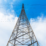 The high-voltage wire tower. The tower frame transmission line open field erected Royalty Free Stock Images