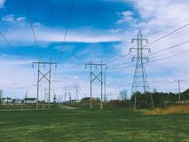 High Voltage Wire Towers stock photo