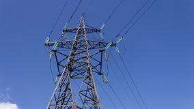 High-voltage wires on an electrical support. Electric power industry - timelapse.  stock video