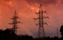 High voltage wires and iron towers Stock Photography