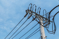 High-voltage wires. On a light pole Royalty Free Stock Images
