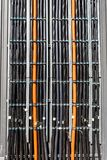 High-voltage wires, multicore cables. Stacked neatly side by side stock photos