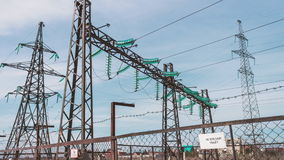 High-voltage wires, power station. Energy industry. Production and transportation of electricity. High-voltage wires, power station. Energy industry. Production stock video footage