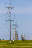 High voltage wires power transmission lines Stock Photos