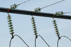 High-voltage wires and transformers Stock Photo
