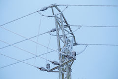 High voltage wires in winter stock photo