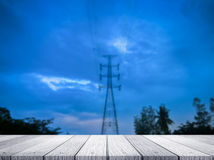 High voltage. With wooden on blue sky background Royalty Free Stock Image