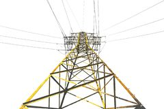 High voltage pole isolated on white background. High voltage yellow pole isolated on white background stock illustration