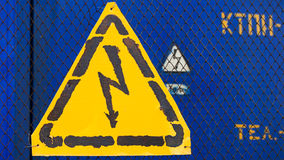 High voltage yellow sign Stock Photo