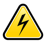High voltage yellow warning sign Stock Image