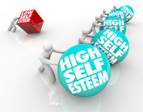 High Vs Low Self Esteem Losing Race of Confidence Stock Image