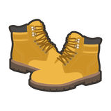 High warm shoes. Vector illustration of high warm yellow colored leather male shoes Royalty Free Stock Photo
