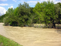 High water. Munich, Germany, August 2005. The river Isar stock photo