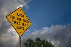 High Water Caution Sign, `Turn Around, Don`t Drown Royalty Free Stock Photo