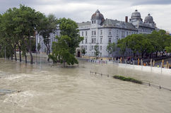 High water on Danube in Bratislava, Slovakia Royalty Free Stock Photos