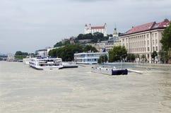 High water on Danube in Bratislava, Slovakia Royalty Free Stock Photo