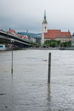 High water on the Danube river in Slovakia Royalty Free Stock Photo