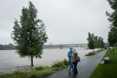 High water on the Danube river in Slovakia Royalty Free Stock Photography