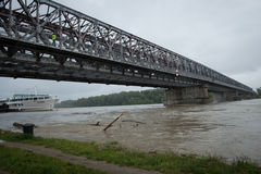 High water on the Danube river in Slovakia Stock Image