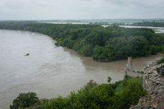 High water on the Danube river in Slovakia Royalty Free Stock Images