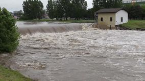 High water. Level in the city reservoir stock footage
