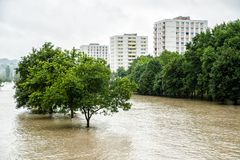 High Water Level on Danube River Royalty Free Stock Photography