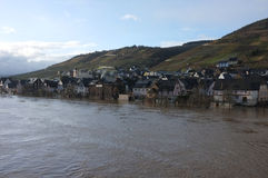 High water at the moselle. Flooding in reil (a german village)at the river moselle Royalty Free Stock Photography