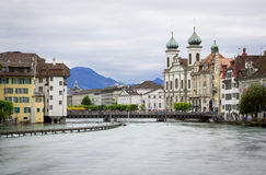 High water in Reuss River, Lucerne. Lucerne city with high water in river, long exposure Stock Photos