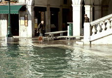 High water in Rialto, Venice Royalty Free Stock Photo