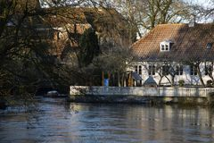 High water river in Ribe Royalty Free Stock Photos