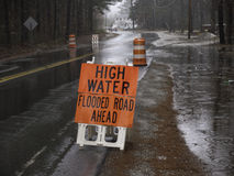 High water in road Royalty Free Stock Photography