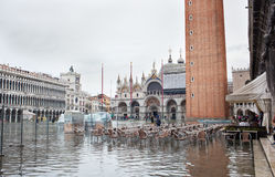 High water in Venice, Italy. Royalty Free Stock Photo