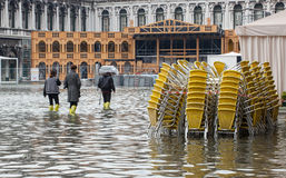 High water in Venice, Italy. Stock Image
