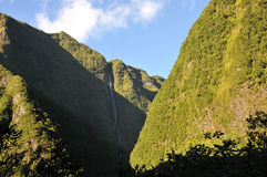 High Waterfall on the Mountains in the Reunion I Stock Photography