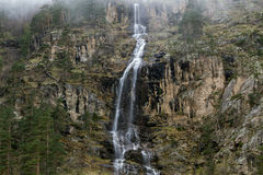 High waterfall in the pine forest. Royalty Free Stock Photography