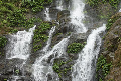 High waterfall in the rainforest on the island of Mindoro in Phi Royalty Free Stock Photos
