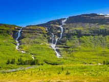 High waterfalls in Iceland Stock Images