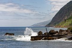 Azores - strong surf in the north of the island Sao Jorge royalty free stock photo