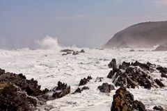 High wave breaking on the rocks Royalty Free Stock Photo
