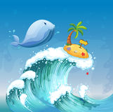A high wave with a dolphin and an island with an arrowboard Royalty Free Stock Photo